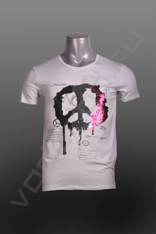 ФутболкаФутболки и поло<br>Супер стильная модная мужская футболка, оригинальный принт отделан паетками, приталенная, стрейч.<br><br>Цвет: белый<br>Размер INT: M,XL<br>Пол: Мужской