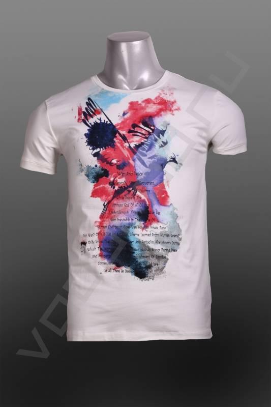 ФутболкаФутболки и поло<br>Модная мужская футболка, с ярким принтом, приталенная, укороченный рукав, круглый ворот.<br><br>Цвет: белый<br>Размер INT: 2XL<br>Пол: Мужской