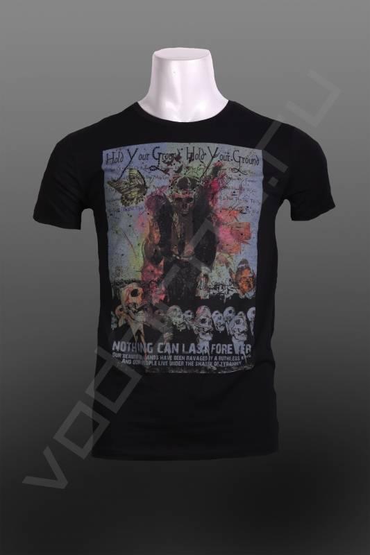 ФутболкаФутболки и поло<br>Модная мужская футболка, с оригинальным кричащим принтом, приталенный силуэт, круглый ворот, по фигуре.<br><br>Цвет: черный<br>Размер INT: L<br>Пол: Мужской
