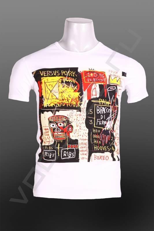 ФутболкаФутболки и поло<br>Модная мужская футболка, с оригинальным агрессивным принтом, яркая, вызывающая, стрейч, укороченная, круглый ворот.<br><br>Цвет: белый<br>Размер INT: 2XL,M<br>Пол: Мужской