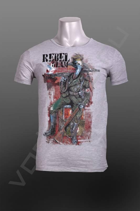 ФутболкаФутболки и поло<br>Яркая, оригинальная мужская футболка, с интересным вызывающим принтом, в виде птицы солдата, безупречное качество, приталенная, по фигуре.<br><br>Цвет: серый<br>Размер INT: M,L,XL,2XL<br>Пол: Мужской