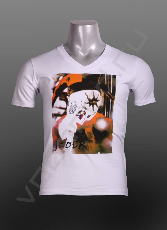 ФутболкаФутболки и поло<br>Мужская футболка, V-образный ворот, стрейч, яркий вызывающий принт, в стиле джокер, приталенная.<br><br>Цвет: белый<br>Размер INT: 2XL,L,M,XL<br>Пол: Мужской