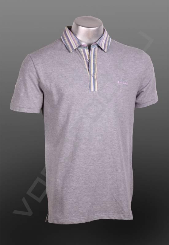 ПолоФутболки и поло<br>Мужская футболка, силуэт polo, с воротником, классический приталенный стиль, на пуговичках, воротник оригинального контрастного оттенка в легкую бледную полоску.<br><br>Цвет: серый<br>Размер INT: M<br>Пол: Мужской